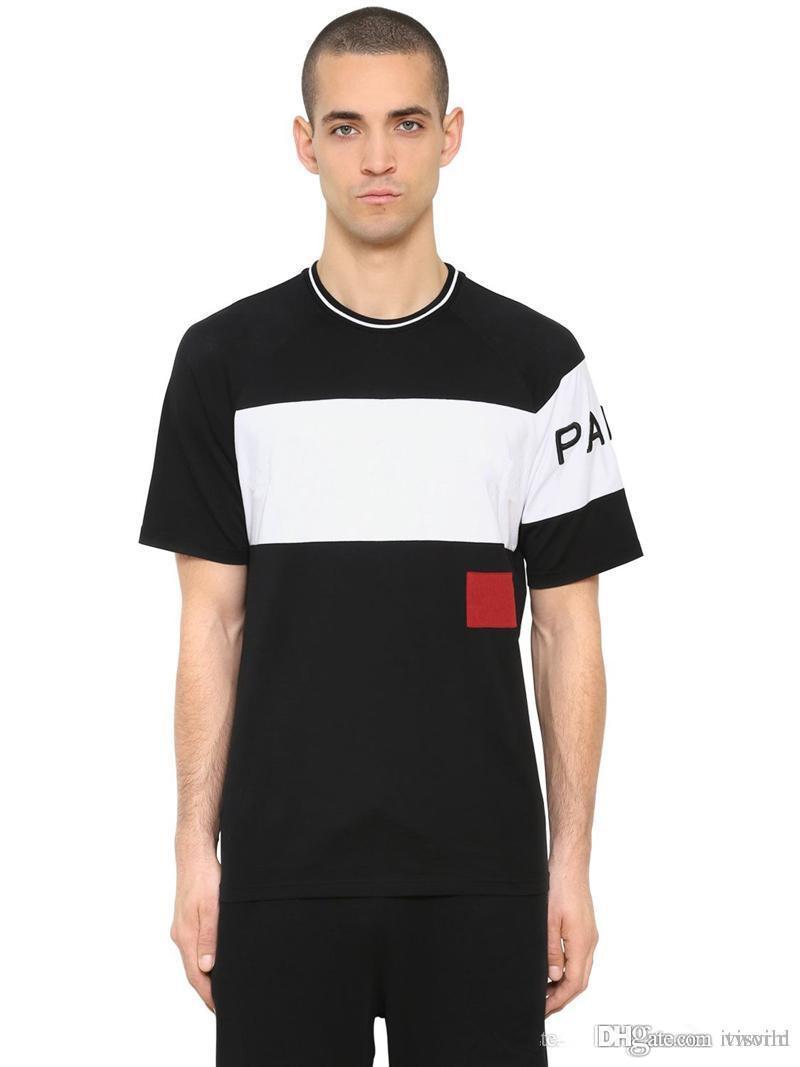 e0e9ee9070 Compre 19ss De Luxo Europa 4g Paris Bordado Contraste Patchwork Tshirt Moda  Mens Designer De T Camisa Casual Homens Roupas De Algodão T Mulheres Topos  De ...