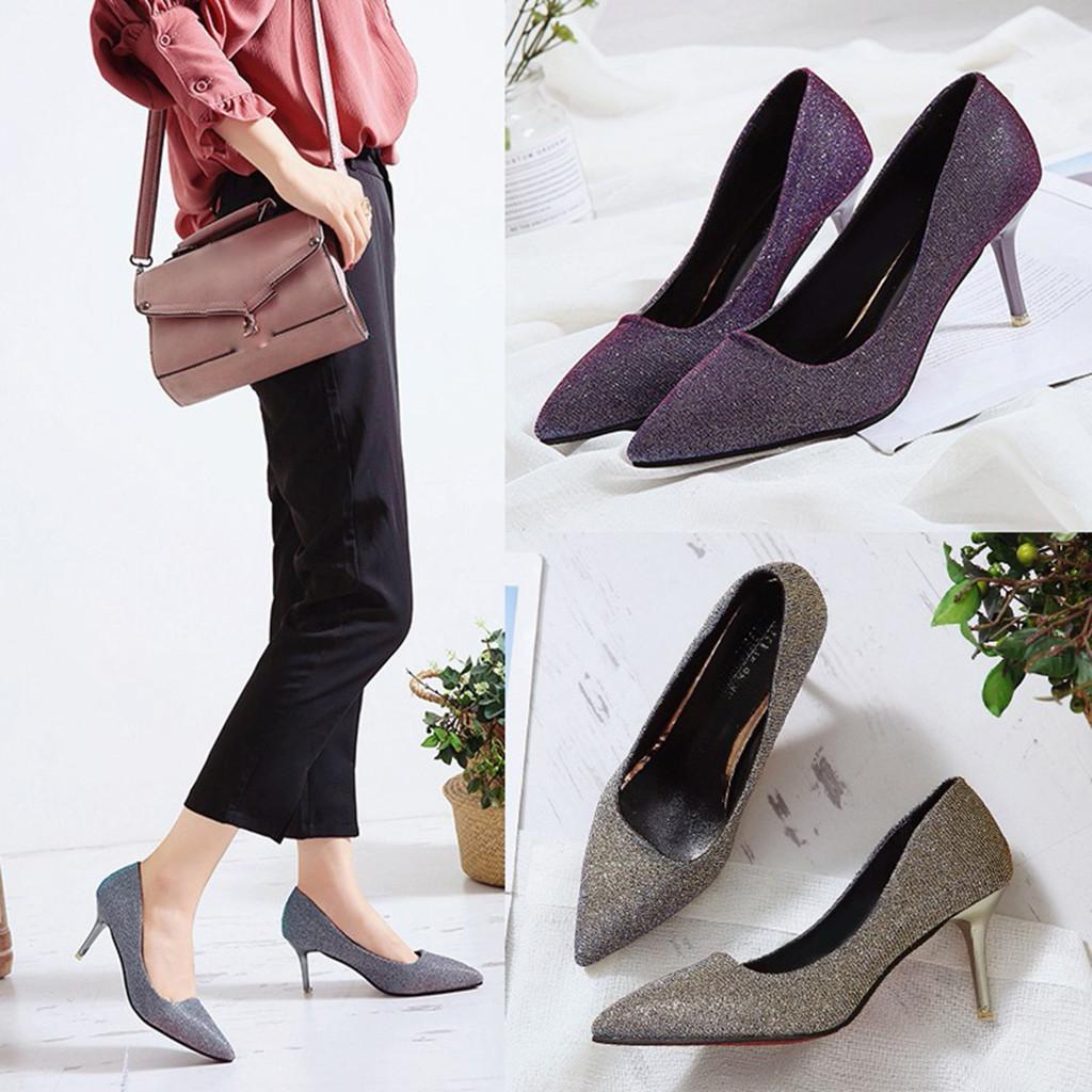 Dress Shoes Xiniu Newest Fashion Women's Pointed Sequins Stiletto Wild High Heel Single High Quality Botas Feminina