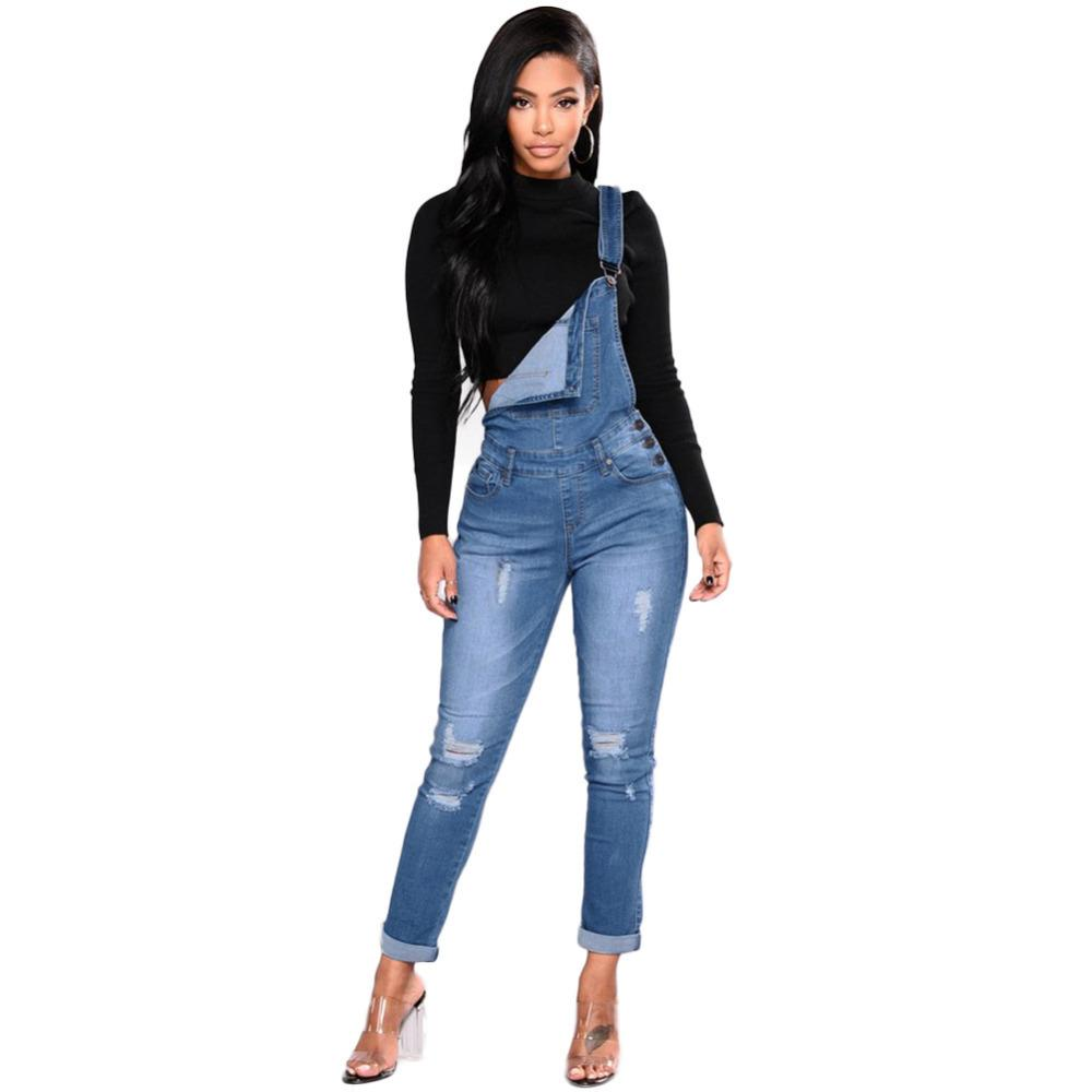 2019 New 2019 Women Denim Overalls Ripped Stretch Dungarees