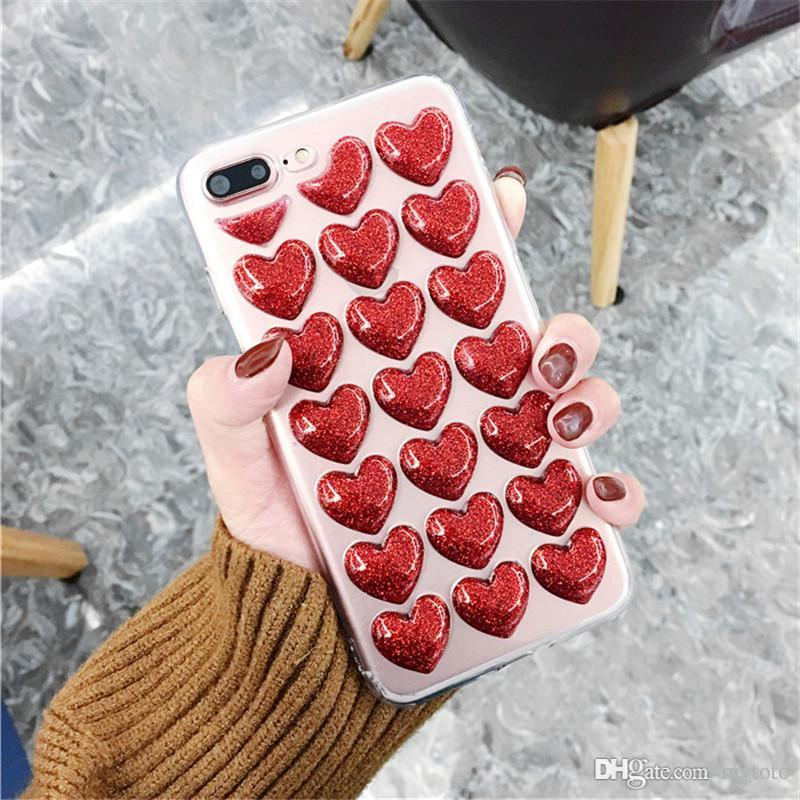 Mytoto Fashion 3D Heart Glue TPU Silicon Body Case for iPhone 5 5S 5SE 6 6S 7 8 Plus X Back Cover Loves Sequins Soft Phone Cases