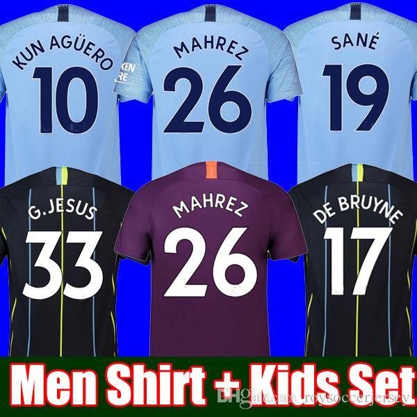 new product 3c804 44912 Thailand MAHREZ JESUS DE BRUYNE AGUERO soccer jerseys 2019 SANE jersey 18  19 football KIT Top city soccer shirt adult and kids set uniform