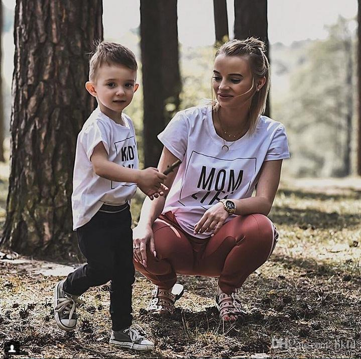 cab60976 Family Look Mommy And Me Matching Outfits Clothes Mother Kids Summer Short  Sleeve T Shirts Fashion MOM/KIDS LIFE Letters Printed Father Son Matching  Outfits ...