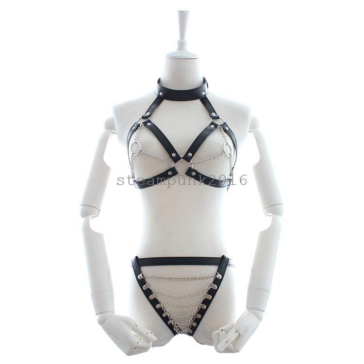 women pu leather chain lingerie open bust women pu leather chain lingerie open bust body harness breast string