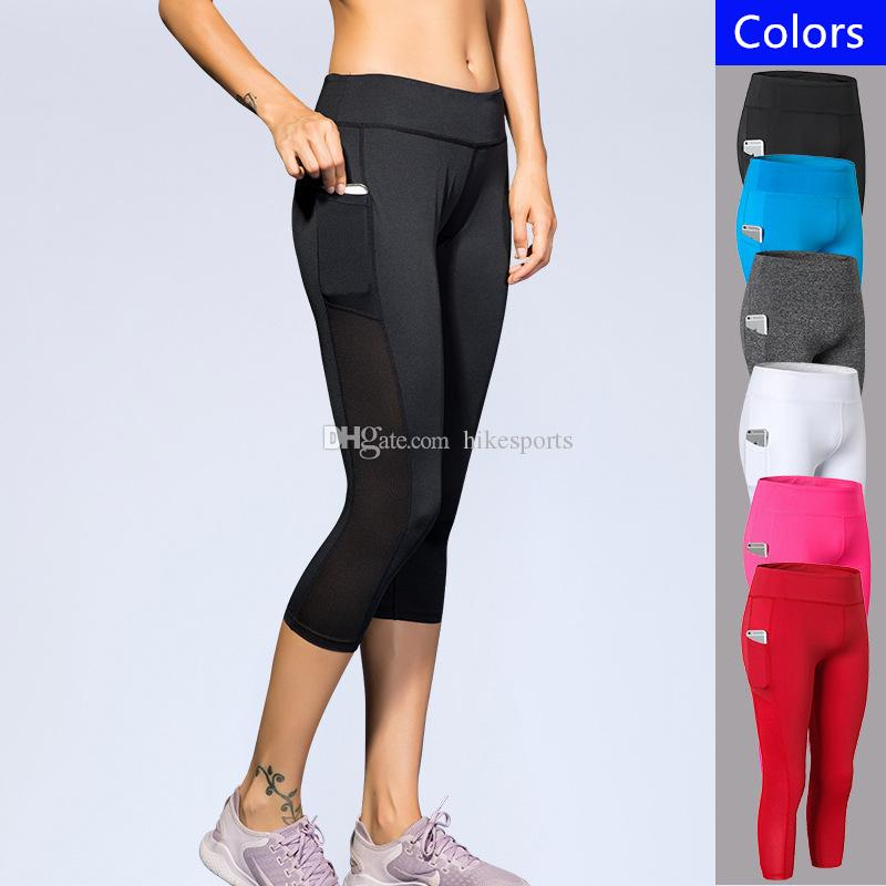 9d7a47225103f 2019 Women Yoga Capri Pants Sides Pockets Running Fitness Gym Sports Cropped  Trousers Breathable Elastic Tight Leggings Ladies High Waist Capris From ...