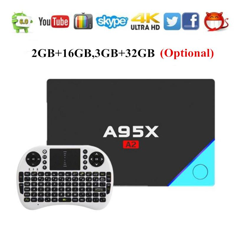 A95X A2 Android TV Box Amlogic S912 Android 6.0 4K Dual Band Wifi 2G 16G 32G Smart Media Player Top Box PK X92 GT1 Ultimate