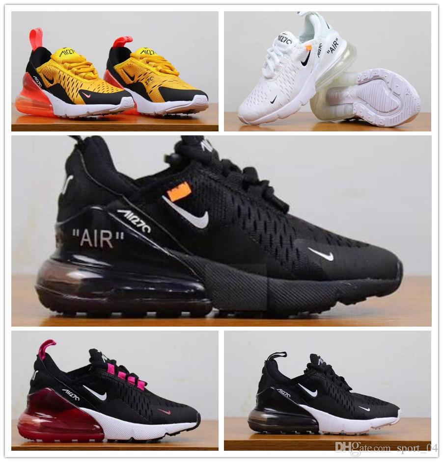 Nike Air Max 270 youth Running Shoes kid Sneakers Off white air 27c run outdoor Sports shoe 270s Trainer Air size 28 35