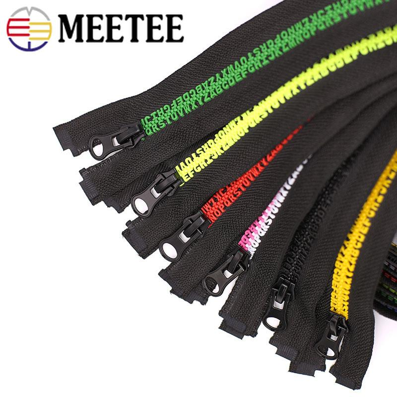 Meetee 80cm 5# Letter Teeth Resin Zipper Open-end Auto Lock Zippers for Down Jacket Coat DIY Garment Sewing Accessories