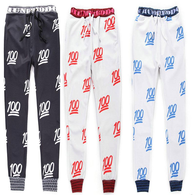 New 100 emoji joggers pants white/black for men/boy sweatpant trousers cartoon outfit clothes