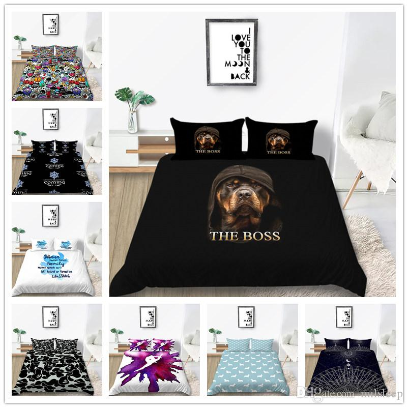 Black Blue Bedding Set Comforter Cover with 3D Print Lion Flowers for Home Textile with Sheet Pillowcase of Bed Cover Suit