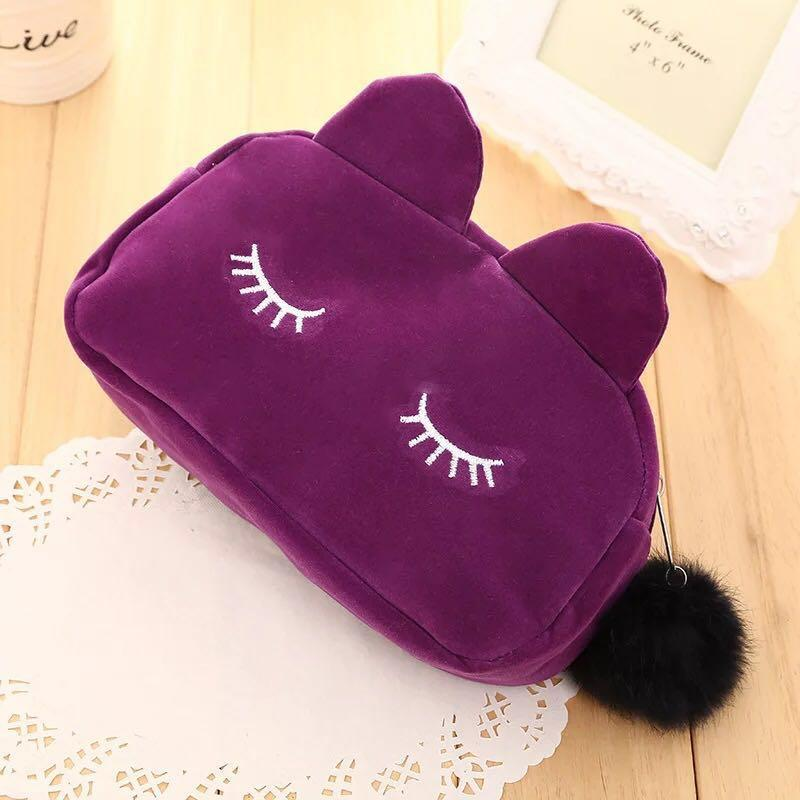 Lovely Cats 3D Flannel Travel Cosmetic Bags Makeup Case Pouch Women Toiletry Organizer Zipper Cartoon Cat Coin Storage Bag