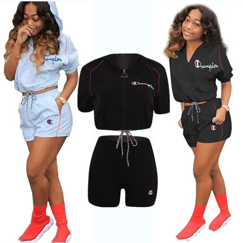 Champions Summer Shorts Suit Women Tracksuit Hooded Short Sleeve t shirt Crop Top+shorts 2 Piece Sportswear Fashipn Sports Suit A32002