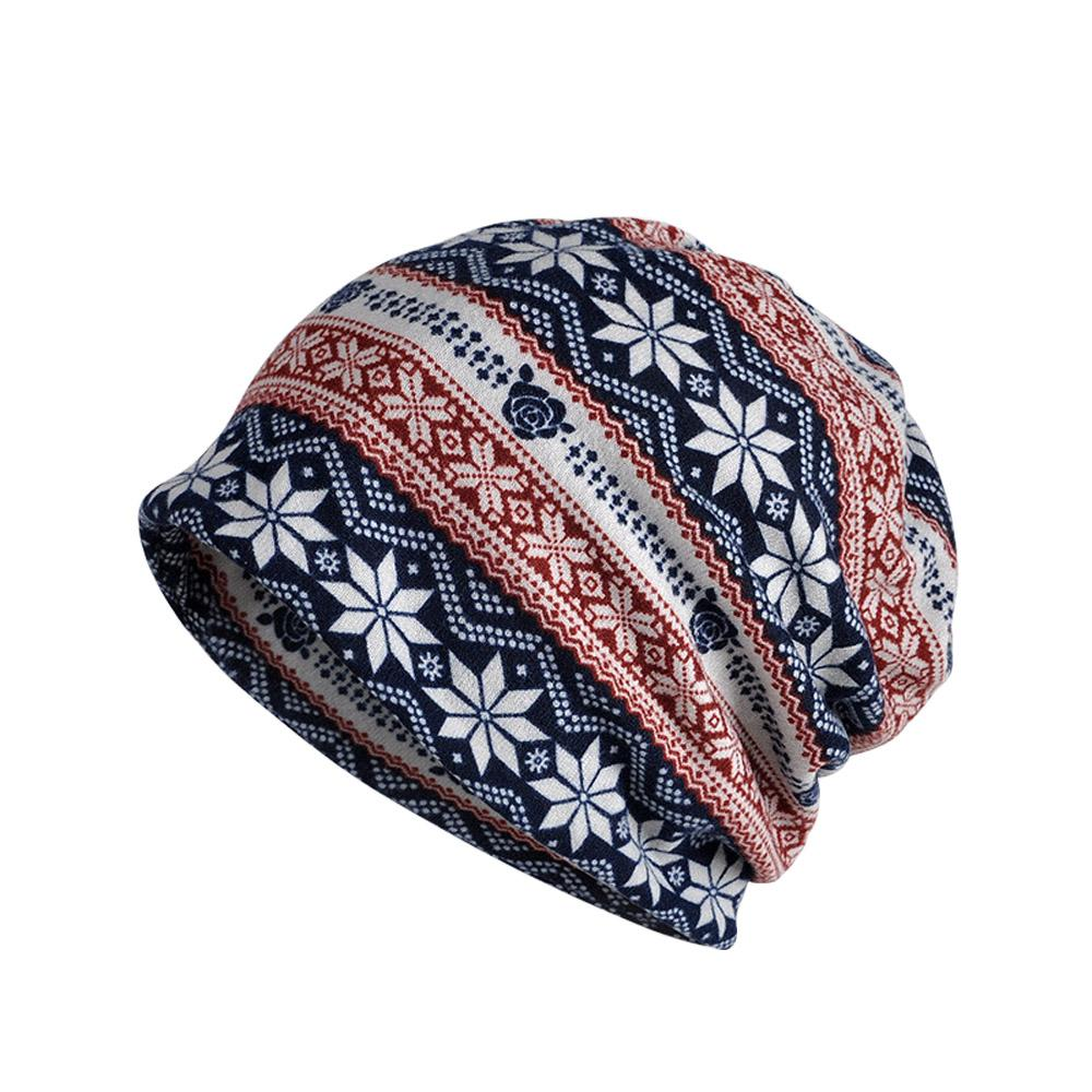 e880a1d9224 Winter Warm Snowflake Pattern Neck Warmer Scarf Beanie Hat Multi-Use ...