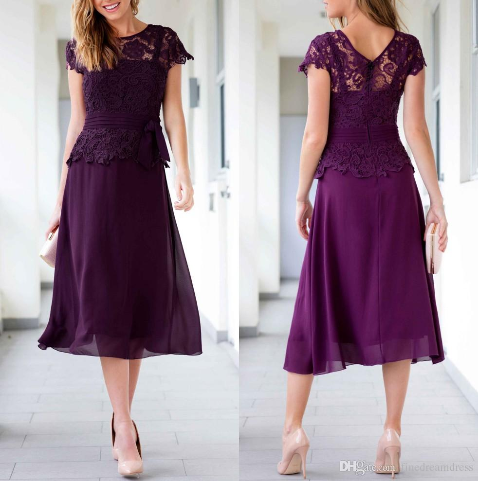 2a7256329b4 2019 Purple Chiffon Short Mother Dresses Cap Sleeves Lace Top A Line Knee  Length Formal Sash Party Evening Dresses Kleinfelds Mother Of The Bride  Dresses ...