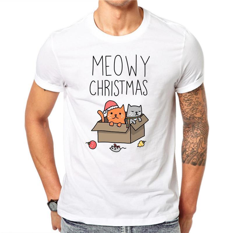 d3b139abc147 100% Cotton Funny Christmas Cat Men T Shirt Harajuku MaleT Shirt Cut 3d  Animal Print White Tops Xmas Gift Tee T Shirts Vintage T Shirts Sale From  Jie10