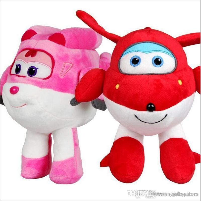 Wholesale-Cute Super Wings Jett/Dizzy Air Plane Plush Toy Hot Cartoon Peluche Doll for Baby Kids Gift 20cm/30cm Kawaii Animation Dolls