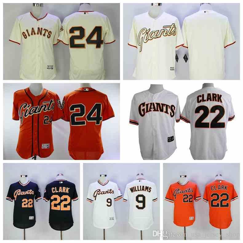 newest collection b155a 42f70 San Francisco Men s Willie Mays Giants Matt Williams Joe Panik Will Clark  White Black Orange Cream Blank Baseball Jerseys