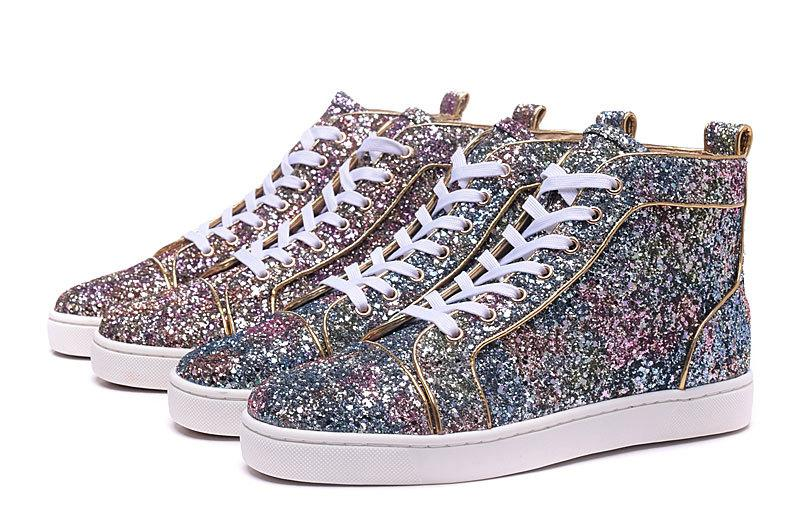 High Top 2018 New Fashion Luxury Mens Womens Designer Shoes multicolore Glitter Red Bottoms per le donne degli uomini Pink Purple Skate Sneakers