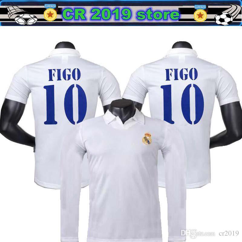 wholesale dealer bb41d 09439 2001 02 Real Madrid Long sleeve Centenary Home Shirt Figo 10 Ronaldo 05 06  Real Madrid jersey Zidane 11 12 Real Madrid Retro Shorts jersey