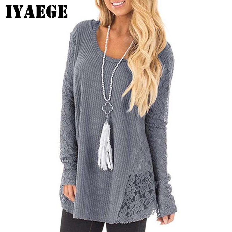 IWomen Fashion Lace Patchwork Pull Tricoté Casual Tops à manches longues Pull Pull