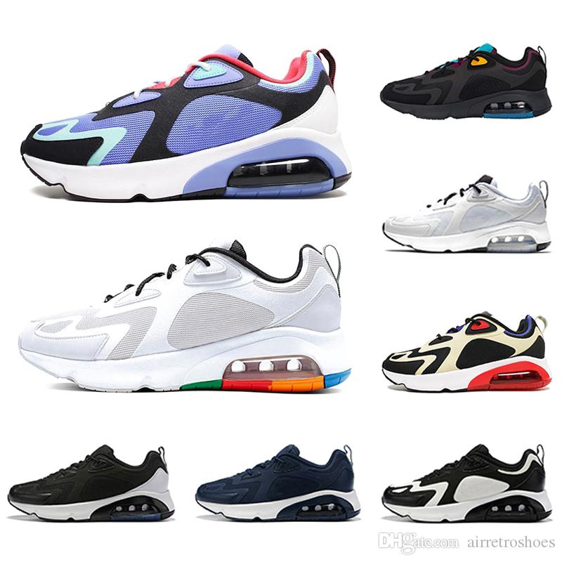 Nike air max 200 shoes airmax 200s Zapatos Vast Grey Chaussures Mens Running Shoes Bordeaux Blue Desert Sand Royal Pulse Mystic Green Team Gold men