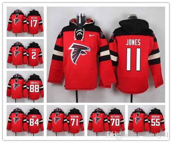 03964d68 Atlanta Sweatshirt Falcons Crucial Catch Performance Pullover football  Hoodie 2 Matt Ryan 11 Julio Jones 18 Ridley jersey