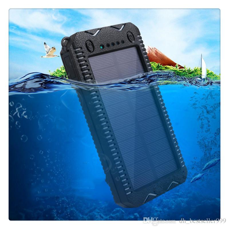 Portable Solar Power Bank Dual USB Port External Battery Charger 15000 mAh Built-in 2 LED Flashlight Waterproof Phone Charger Security