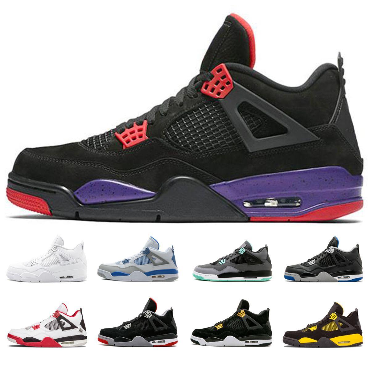 uk availability e9bb3 aa9b4 4 4s Men Basketball Shoes Hot Raptors Pure Money Royalty Black Cat Green  Glow Raptors oreo Thunder 2019 mens Outdoor Sport Sneaker Shoes