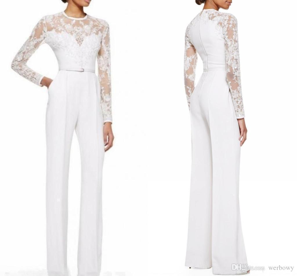 Custom Made New White Mother Of The Bride Pant Suits Jumpsuit With Long Sleeves Lace Embellished Women Formal Evening Wear