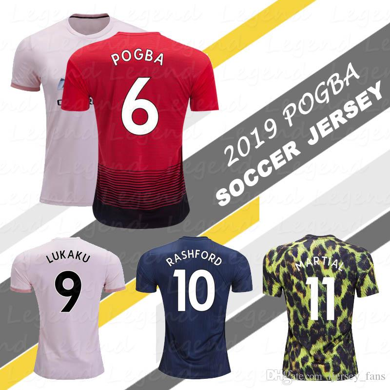 new product 6baab a243b Top thai POGBA soccer jersey 2019 LINGARD LUKAKU RASHFORD MARTIAL football  kit Man Utd jersey 18 19 shirt