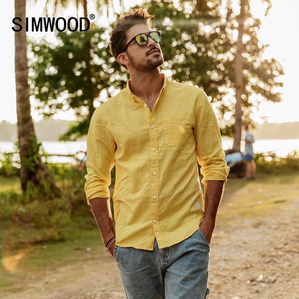 8e6800d8e8f4 SIMWOOD 2019 весна лето новые рубашки из чистого льна хлопка мужчин  прохладный дышащий ...