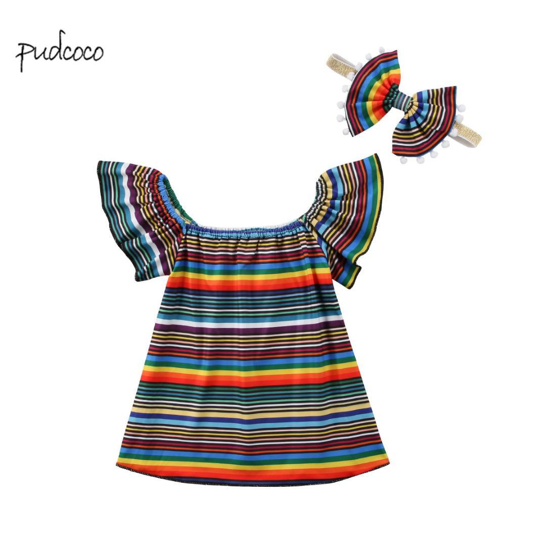 6565301383b5 2019 Pudcoco New Brand Baby Kids Girls Striped Dress Toddler Princess Tutu  Summer Floral Sundress Party Clothes From Cassial, $38.03 | DHgate.Com