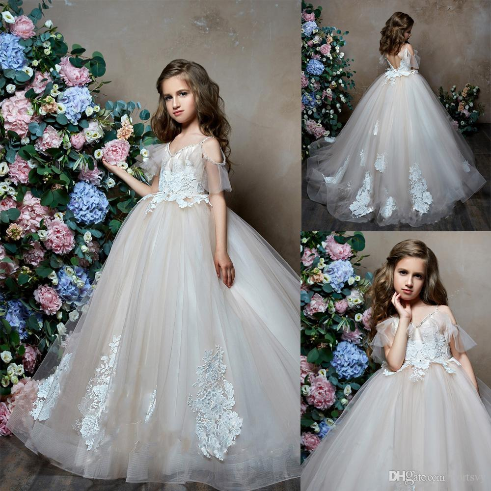 c1c6450dc9 Lace Tulle Long Champagne Flower Girl Dresses Floral Applique Girls Pageant Dresses  First Communion Dress Wedding Party Gown Ivory Tulle Flower Girl Dress ...
