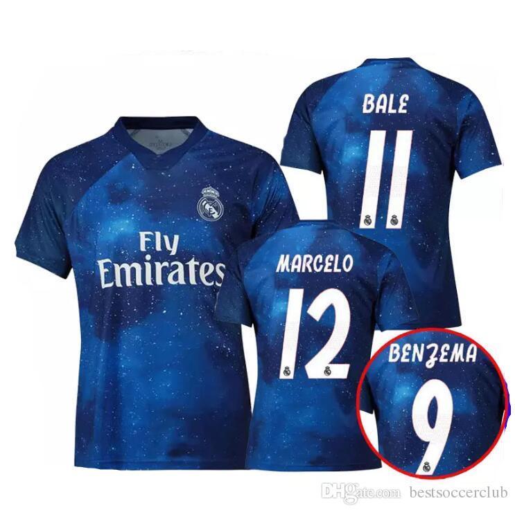 Compre 2019 2020 Real Madrid Edição Limitada Camisa De Futebol Camisa De  Futebol Azul RAMOS BENZEMA MODRIC MARCELO ASENSI ISCO Versão Especial De  Futebol De ... 9672e8abb6e18