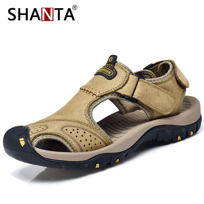 8fdcc2bb99b777 SHANTA Men Sandals 2019 New Genuine Leather Cowhide Male Summer ...
