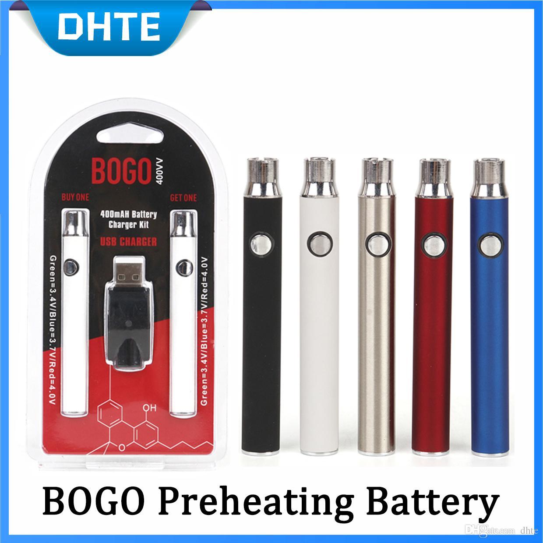 BOGO Double Battery Charger Kit 400mAh E Cigarette Batteries Vape Pen  Preheating Voltage Adjustable Battery 4 Color For Thick Oil Cartridge