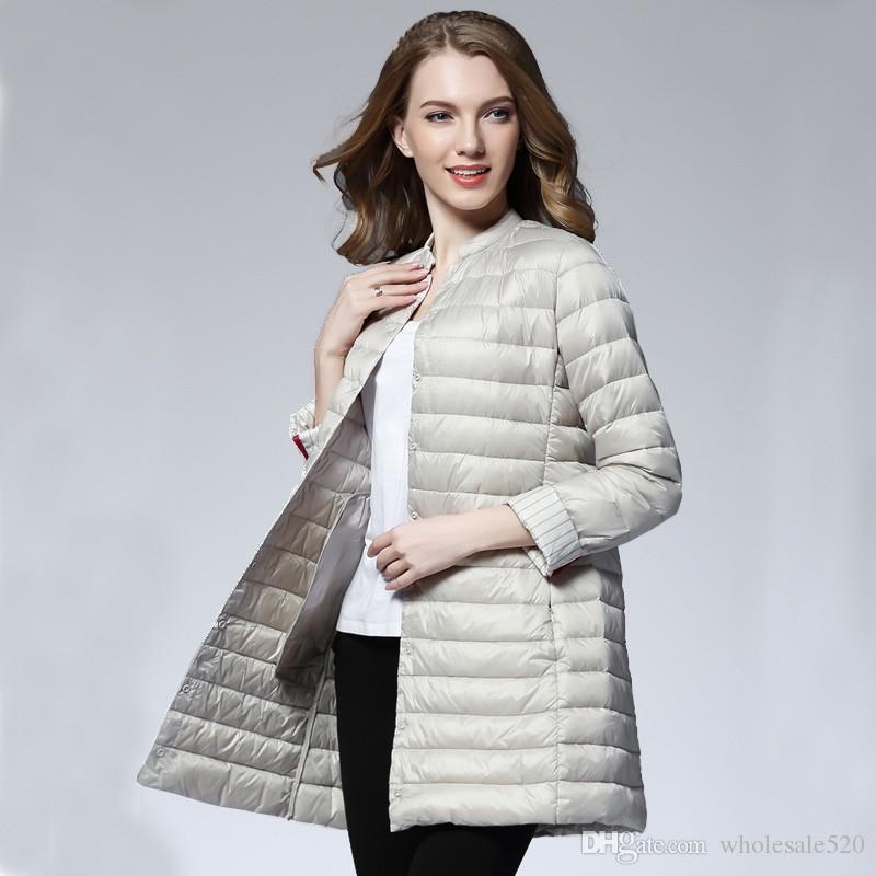 de9c4369974ae Satın Al Kadın Bahar Yastıklı Sıcak Ceket Ultra Hafif Ördek Aşağı Ceket  Uzun Kadın Palto Ince Katı Ceketler Kış Ceket Taşınabilir Parkas, $82.71    DHgate.