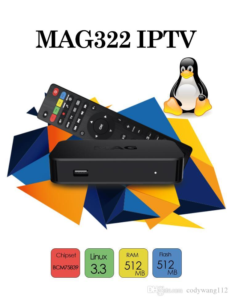 2019 New Arrival MAG 322 w1 build in wifi Latest Linux 3.3 OS IPTV Set Top Box MAG322 HEVC H.265 IPTV Box Smart Media Player
