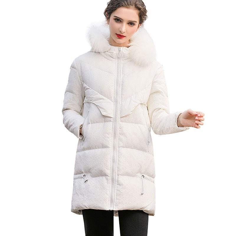 a1803887d3f5 2019 Women Winter White Big Fur Collar Duck Down Parka Warm Coat Jacket  Female 2019 New Fashion Vintage Over The Knee Outerwear HJ63 From  Dennicome, ...