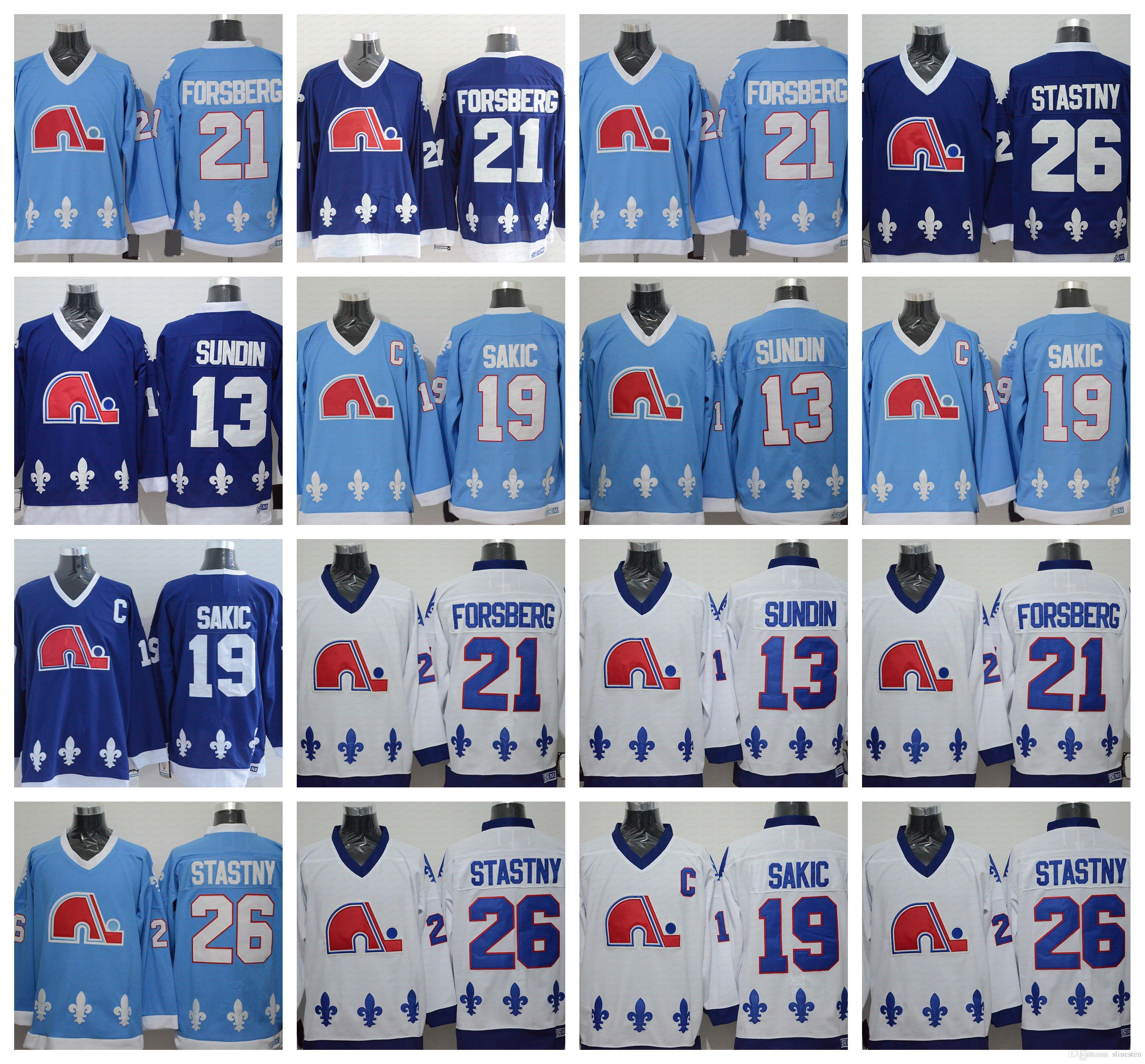 2019 CCM Quebec Nordiques Jerseys Ice Hockey 13 Mats Sundin 21 Peter  Forsberg 26 Peter Stastny 19 Joe Sakic Team Color Navy Blue White From  Slinesten 681e7a033