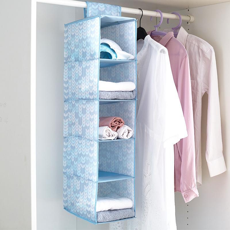 ec0ef4dc01161e 2019 Wholesale Oxford Cloth Wardrobe Clothing Storage Bag 5 Layers Scarf Hat  Clothes Folding Hanging Bag Underwear Closet Organizer DBC DH0631 From  Besgo, ...