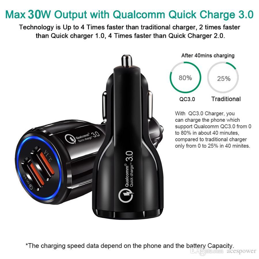 Автомобильные зарядные устройства для мобильного телефона Dual USB QC3.0 Быстрое адаптер для заряда Smart Charger 12V 3.1A для Android без упаковки