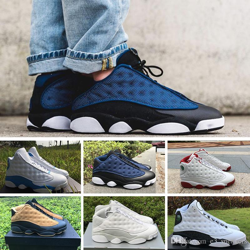 sports shoes 076b4 7aa26 Acheter 2018 Nike Air Jordan 13 Retro Pas Cher Chaussures De Haute Qualité 13  XIII 13s Hommes Chaussures Femmes Elevé Noir Marron Blanc Hologram Flints  Gris ...
