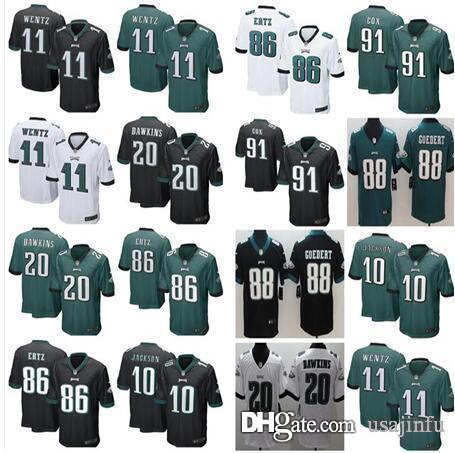 los angeles c68b4 60908 11 Carson Wentz Philadelphia jersey Eagles 10 DeSean Jackson 20 Brian  Dawkins 86 Zach Ertz 91 Fletcher Cox jersey men women youth kids