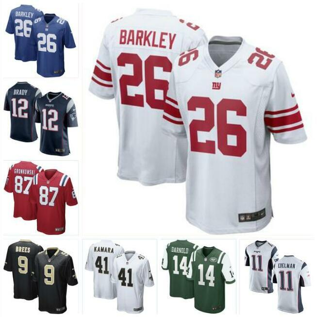 buy online 8f612 f60b2 Saquon Barkley Giants jersey Patriots Jets Saints Tom Brady Sam Darnold  Drew Brees Rob Gronkowski Alvin Kamara football jerseys mens usa