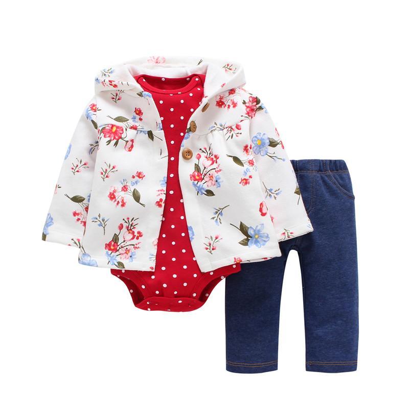 c603bd58d323c4 Bebê recém-nascido Menino Meninas Roupas, 3 Pçs / set, Com Capuz Casaco de  Manga longa floral + Bodysuits + Calças, outono inverno infantil roupa ...