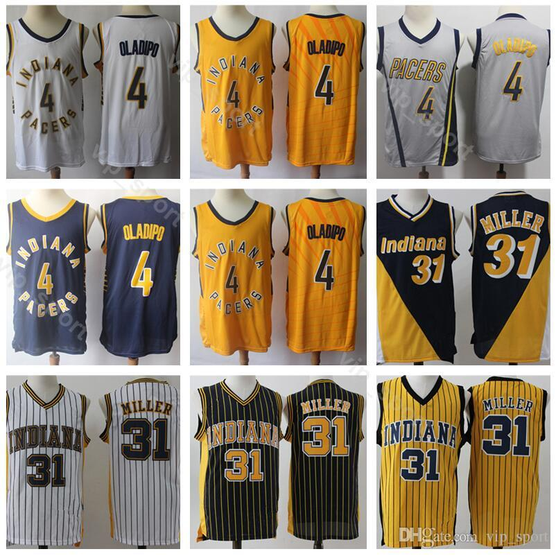 super cute 9fe88 e7f43 Men Victor Oladipo Jersey 4 Indiana Basketball Pacers Reggie Miller Jerseys  31 Edition City Navy Blue White Yellow Uniform