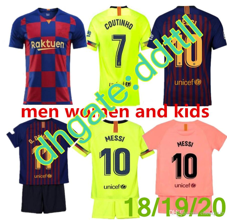 online store 5beac 37d59 2019 FC Barcelona MESSI Soccer Jersey WOMEN third away pink man kits 18 19  20 Suárez DEMBELE COUTINHO football shirt top thai quality.