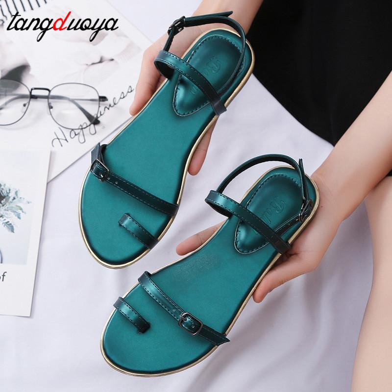 0d0857bde1ee4 Flat Women Sandals 2019 Summer Shoes Woman Beach Sandals Ankle Strap Flats  Women Flip Flops Shoes Sandale Femme Espadrilles Birkenstock Sandals From  Aiyin