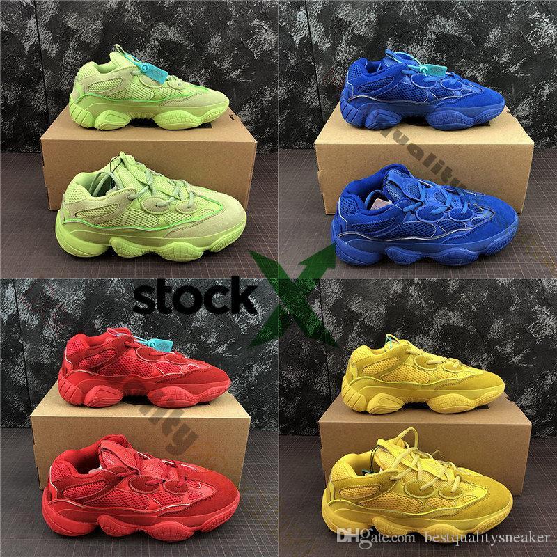 nuova versione nuove varietà enorme inventario Con Stock X 2019 500 Nuove scarpe da corsa verde blu rosso giallo Kanye  Blush Desert Salt 500s Designer Sneakers Scarpe casual di lusso per papà  36-46