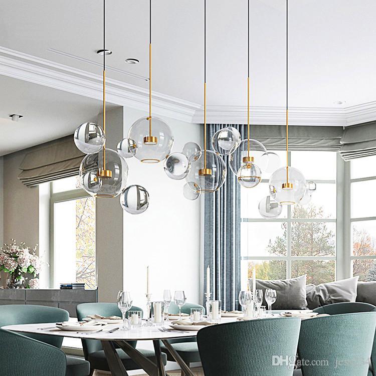 Klarglas Ball Wohnzimmer Kronleuchter Art-Deco-Blase Lampe Schatten  Kronleuchter Moderne Innenbeleuchtung Restaurant iluminacao